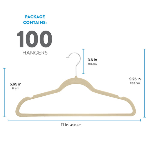 Ivory 100-Pack Standard Adult Clothes Hanger with Pants Bar and Notches