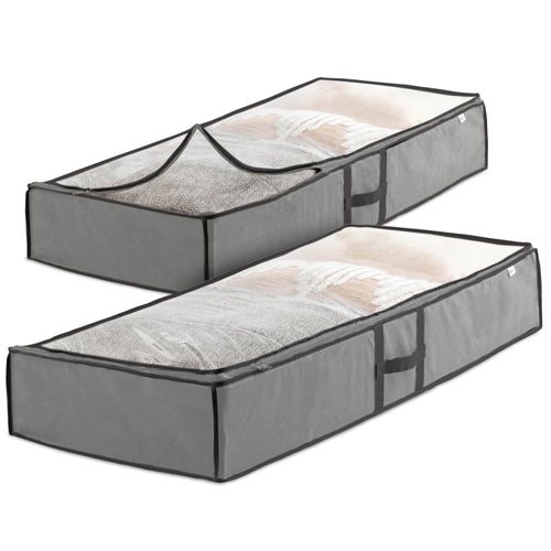 Underbed Storage Bag-Pack of 2 Breathable Fabric Organizer with Clear Viewing Sturdy Dual Zipper 18x42x6""