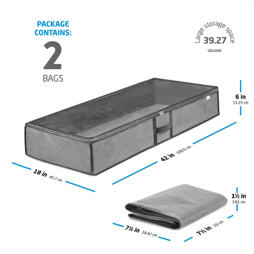 2-Pack Gray Underbed Large Storage Bag for Blankets, Sheets, and More; Non-Woven
