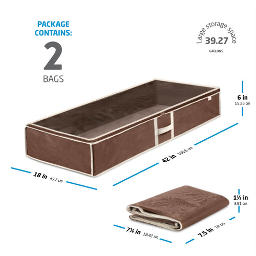 2-Pack Java/Brown Underbed Large Storage Bag for Blankets, Sheets, and More; Non-Woven