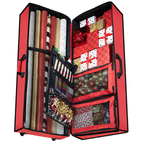 All-In-One Gift Wrap and Accessory Case with Loops, Pockets, and Pouches 600D Polyester 13