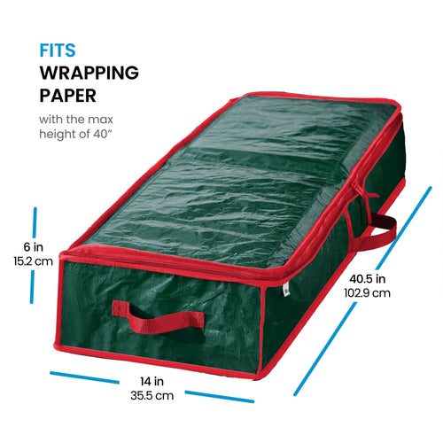 Premium underbed Gift wrap Storage bag, fits 24 Standers Rolls, (Green)