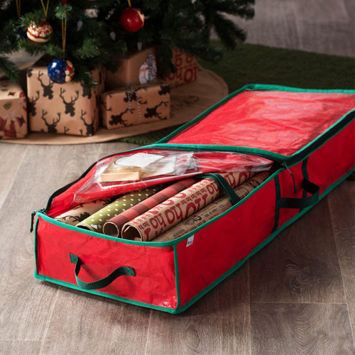 Premium underbed Gift wrap Storage bag, fits 24 Standers Rolls, (Red)