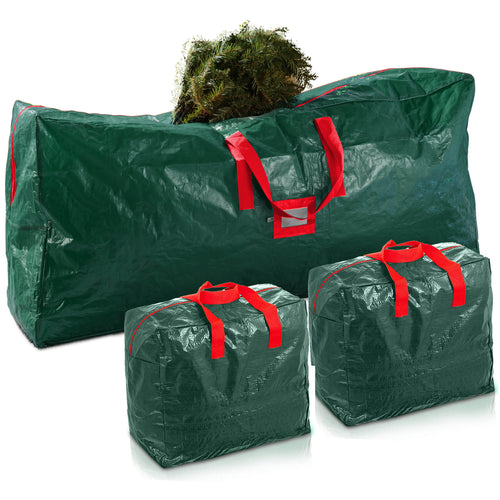 Artificial Tree and Garland Storage Bag, 3-Pack Waterproof Christmas Storage Bags, Green