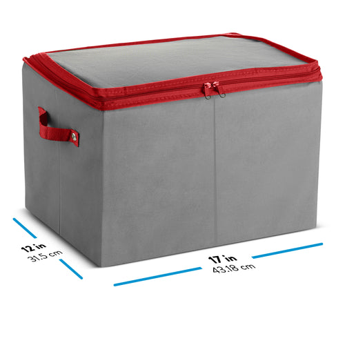 Strip Light Storage Box with 4 Wraps, Carry Handles, Dual Zipper, and Card Slot, Non-Woven Gray