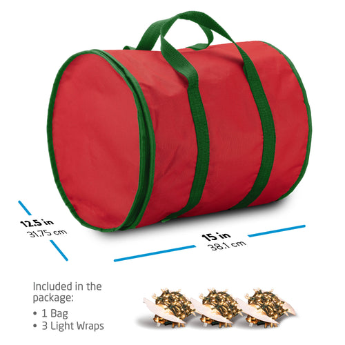 Strip Light Storage Bag with 3 Wraps and Cloth Dividers, Non-Woven Red