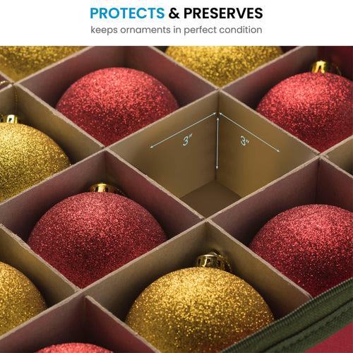Underbed Ornament Storage Box for 120, with Card Slot and Carry Handles, Non-Woven 6.7