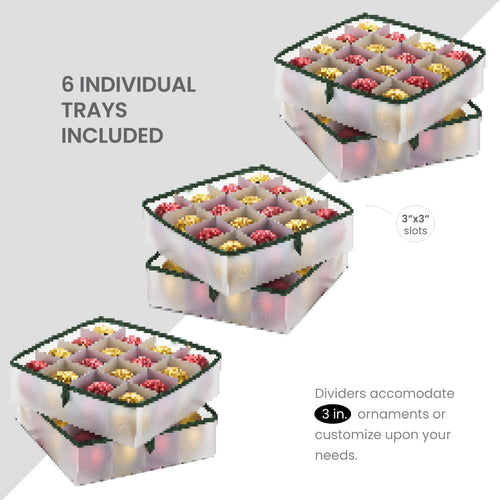 Waterproof Underbed Ornament Storage Box for 96, with Trays and Carry Handles, Vinyl 7