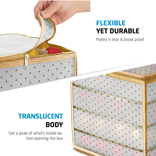 Clear Christmas Ornament Storage Box for 64 Ornaments with 4 Trays and Carry Handles; Tearproof and Waterproof Vinyl Gold