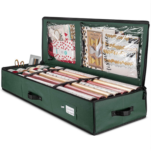 Underbed Gift Wrap and Accessory Storage Box Fits 18-24 Rolls, 40