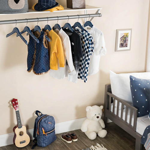 10-pack Blue Polka-Dot Kids Wood Clothes Hangers