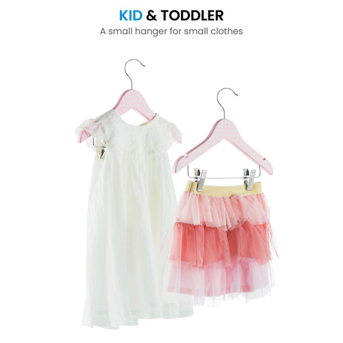 10-pack Pink Polka-Dot Kids Wood Clothes Hangers with Clips