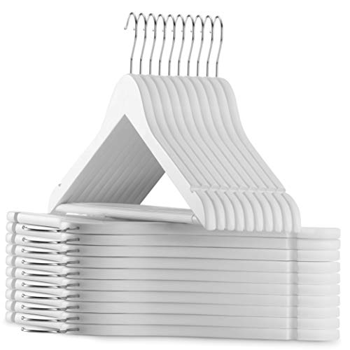 20-Pack White Wooden Suit Hangers