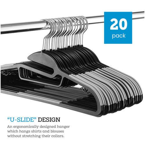 Gray U-Slide Plastic Hanger 20-Pack