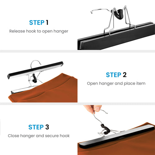 10-Pack Black High-Grade Wooden Skirt/Pants Hanger