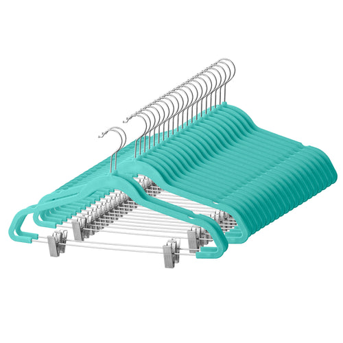 Premium Velvet Skirt Hangers with Clips - 20 Pack Turquoise