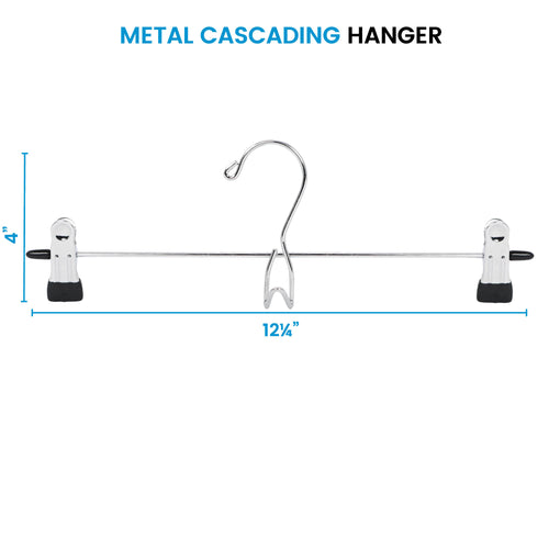 Metal Pants Hanger with 2 Clips, 12-Pack