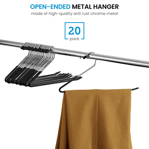 Slack/Trousers Pants Hangers - 20 Pack - Strong and Durable Anti-Rust Chrome Metal Hangers,