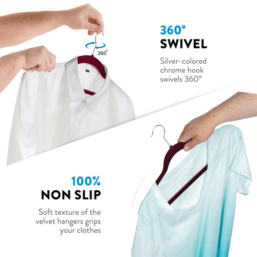 Burgundy 100-Pack Standard Adult Clothes Hanger with Pants Bar and Notches