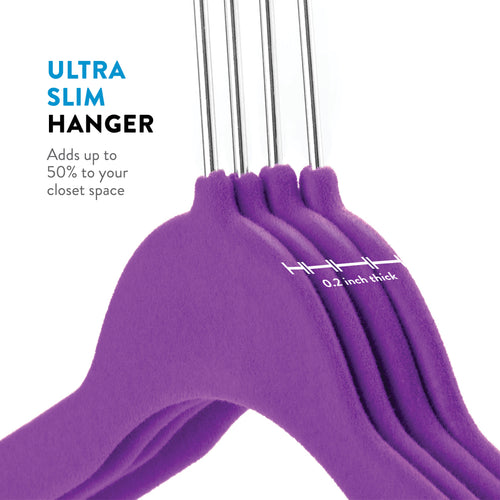 Purple 50-Pack Standard Adult Clothes Hanger with Pants Bar and Notches