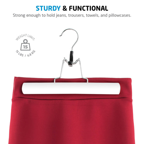 10-Pack White High-Grade Wooden Skirt/Pants Hanger