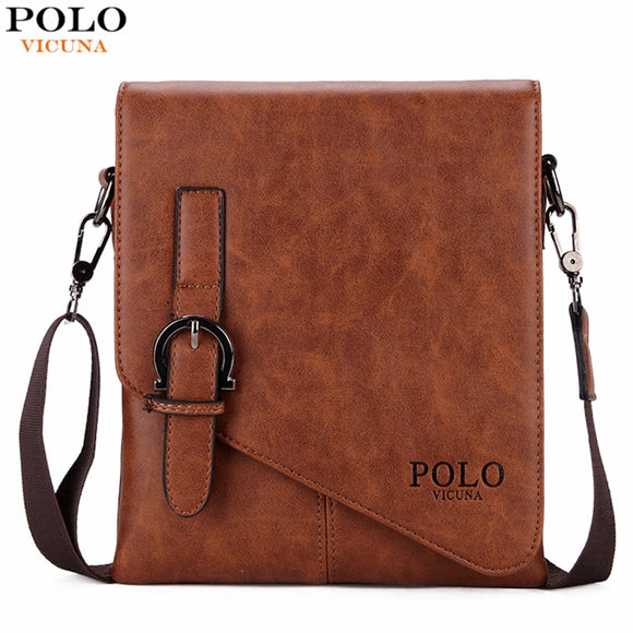 VICUNA POLO Unique Buckle Design Irregular Cover Open Mens Messenger Bag 2 Sizes Business Men Crossbody Bag Leather Man Bag Hot