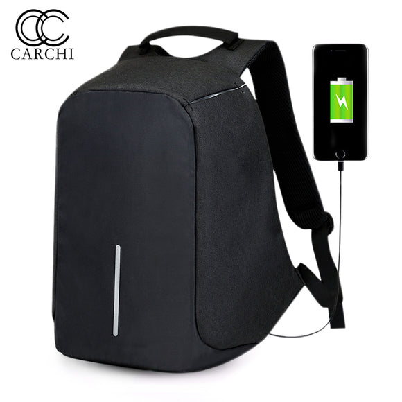 CARCHI Canvas Men's Anti Theft Backpack Bag  USB Charge 15 Inch Laptop Notebook Backpack For Men Waterproof Travel Back Pack Bag