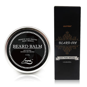 100% Natural Beard Balm Moustache Cream Oil Set Conditioner Beard Balm Healthy Moisturizing Wax Brush Comb Christmas Gift