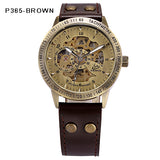 Steampunk Skeleton Power Automatic Mechanical Watches Mens Bronze Antique Leather Self Widing Wrist Watch Clock Men Wristwatches