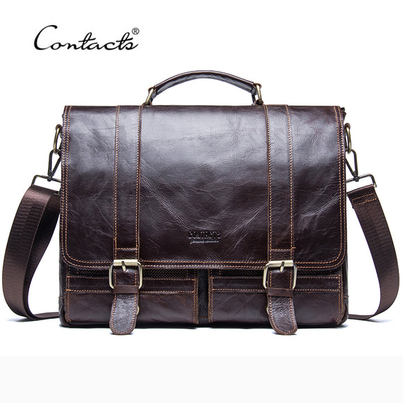 CONTACT'S 2017 Men Retro Briefcase Business Shoulder Bag Leather Handbag Bag Computer Laptop Messenger Bags Men's Travel Bags