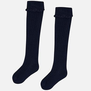 Girls Knee High Socks - Navy
