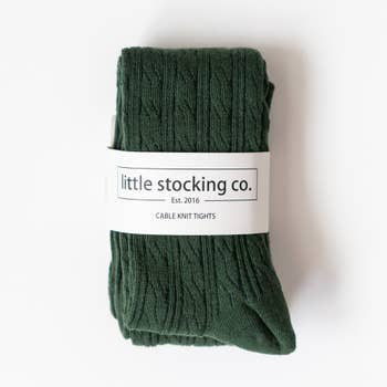 Cable Knit Tights - Forest Green