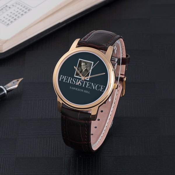Persistence by Napoleon Hill: 30 Meters Waterproof Quartz Fashion Watch With Brown Genuine Leather Band