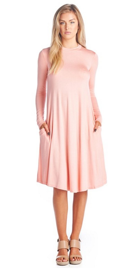 High Neck A-Line Flared Midi Swing Dress