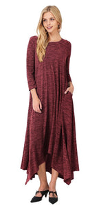 Handkerchief-Hem Heathered Knit Maxi Sweater Dress