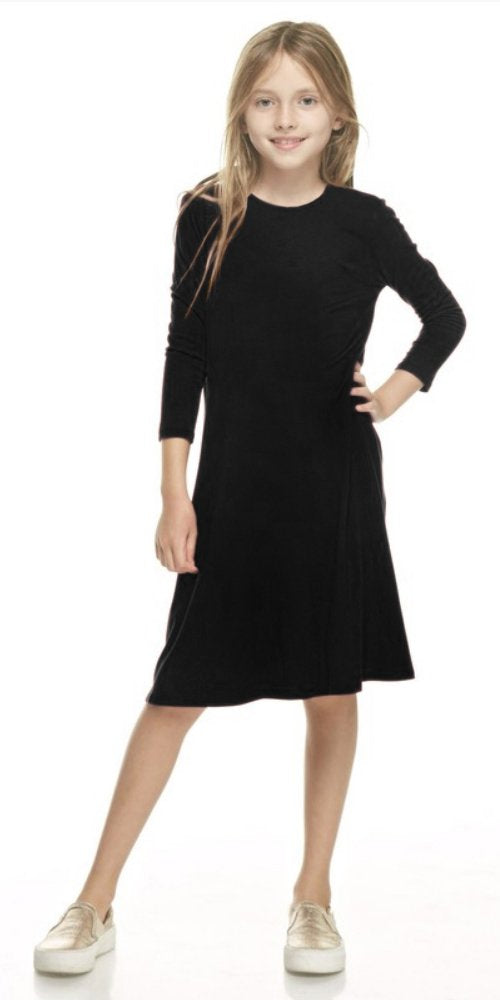 Girls A-Line Jersey Midi Dress With Pockets