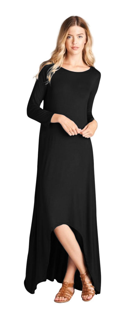 3/4 Sleeve High Low Jersey Maxi Dress