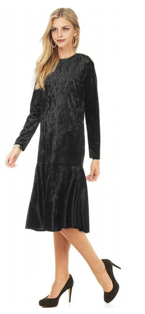 Ruffle Hem Crushed Velvet Midi Dress
