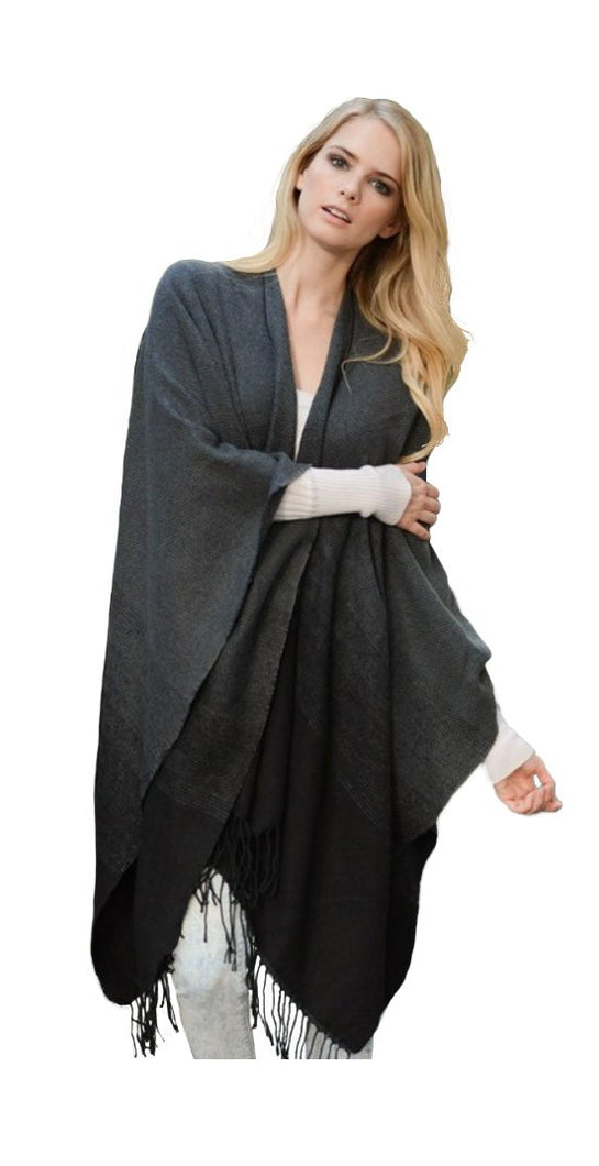 Premium Warm Knit Vintage Ombre Wrap Shawl Cape