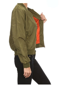 Military-Inspired Bomber Jacket With Satin Finish