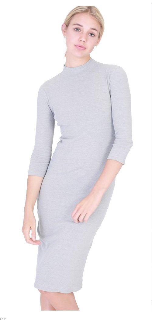 Sweater-Knit Midi Straight Tight Dress