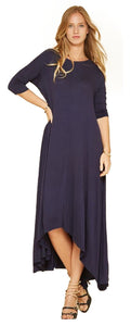 Oversize Asymmetrical Handkerchief Hem Jersey Maxi Dress