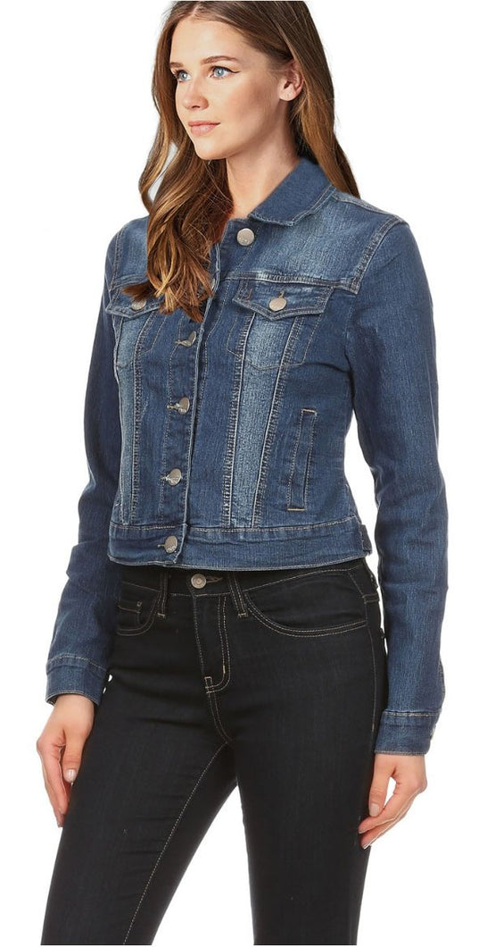 Cropped Distressed Denim Bomber Jacket