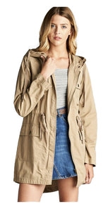 Military Safari Anorak Drawstring Front Khaki Jacket