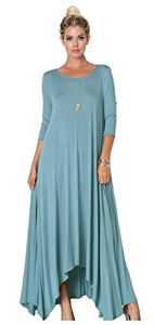 Asymmetrical Oversized Handkerchief Hem Jersey Maxi Dress