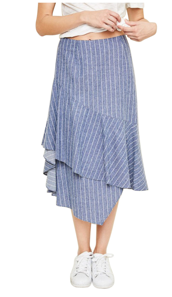 Asymmetrical Ruffle Striped Midi Skirt