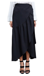 Wrap Front Ruffled Maxi Skirt