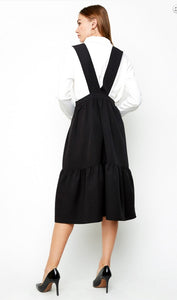 A-Line Tiered Overall Midi Dress