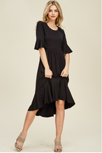 Cropped Bell Sleeve Midi Dress, Causal Mermaid Hem Detailing at The Bottom Skirt