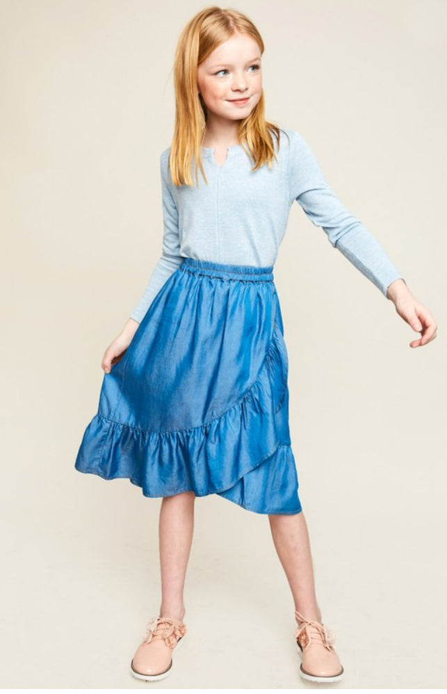 Kids Lyocell Denim Ruffled Wrap Skirt